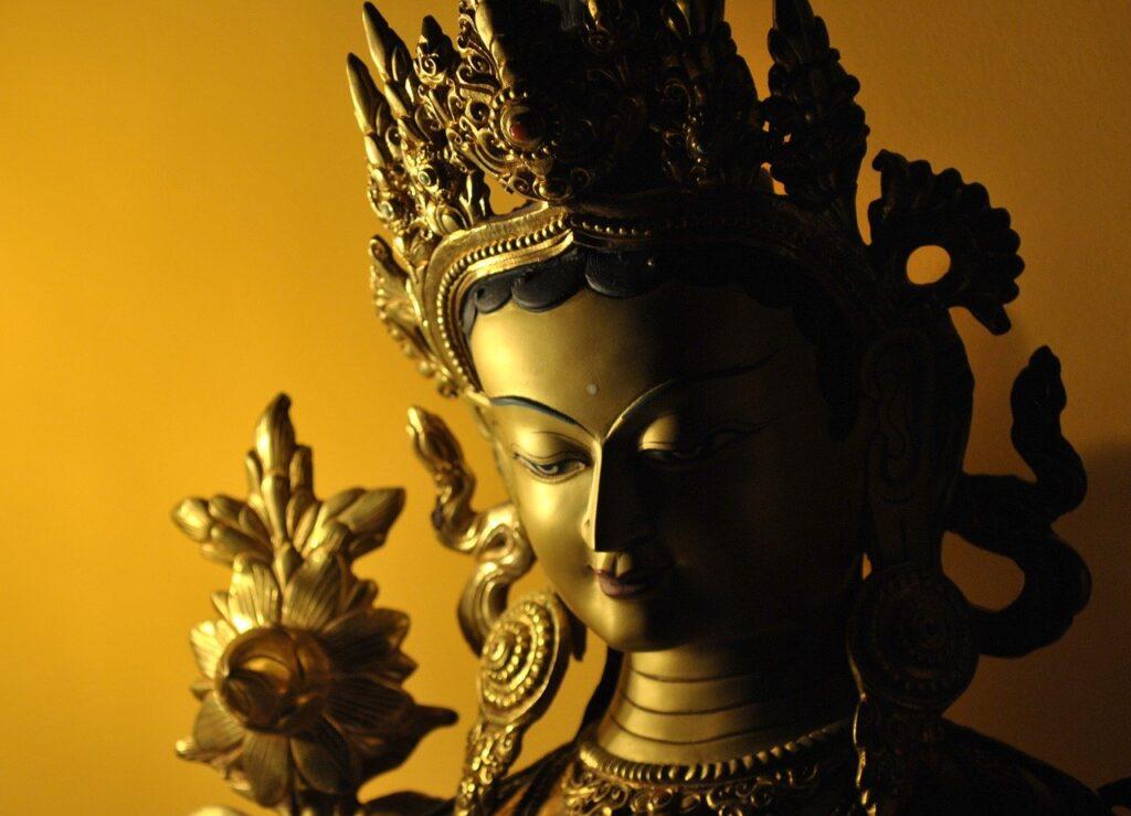 Zöld Tara szobor Nepálból. Áldott termék. - Nepáli termékek